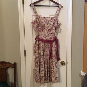 Ann Taylor Pink and Cream Dress Size 14